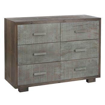 Commode 6 tiroirs bois gris et naturel, 105x38x77cm FOREST