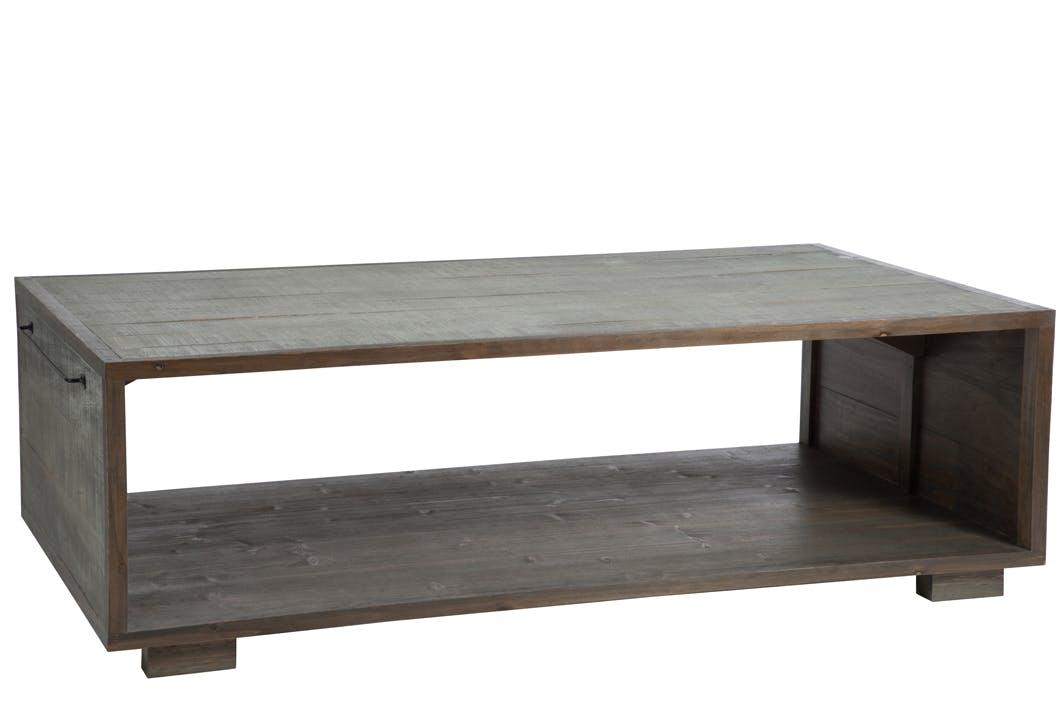 Table basse en pin gris avec porte-revue - 145x80x35cm FOREST