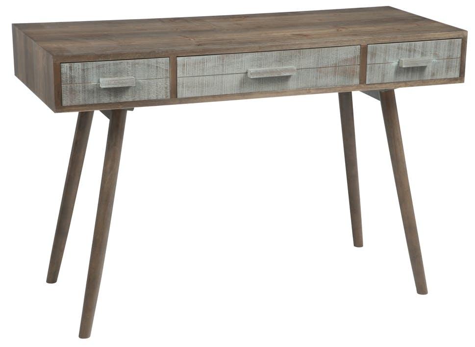 Bureau bois gris et naturel, 3 tiroirs, 120x50x80cm FOREST