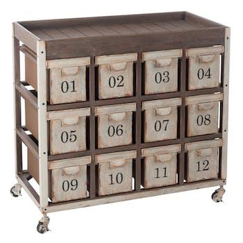 Commode grainetier 12 tiroirs, bois et métal  - 89x46x83cm FOREST