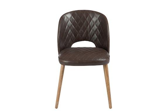 Chaise capitonnée, pieds chêne et assise PU marron