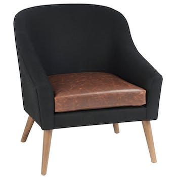 Fauteuil club PU noir, assise cognac, H84cm