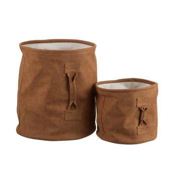"Lot de 2 paniers de rangement ""NATURE"", PU marron"