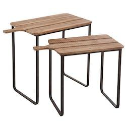 Lot de 2 tables gigognes bois et métal, façon planche à découper FOREST