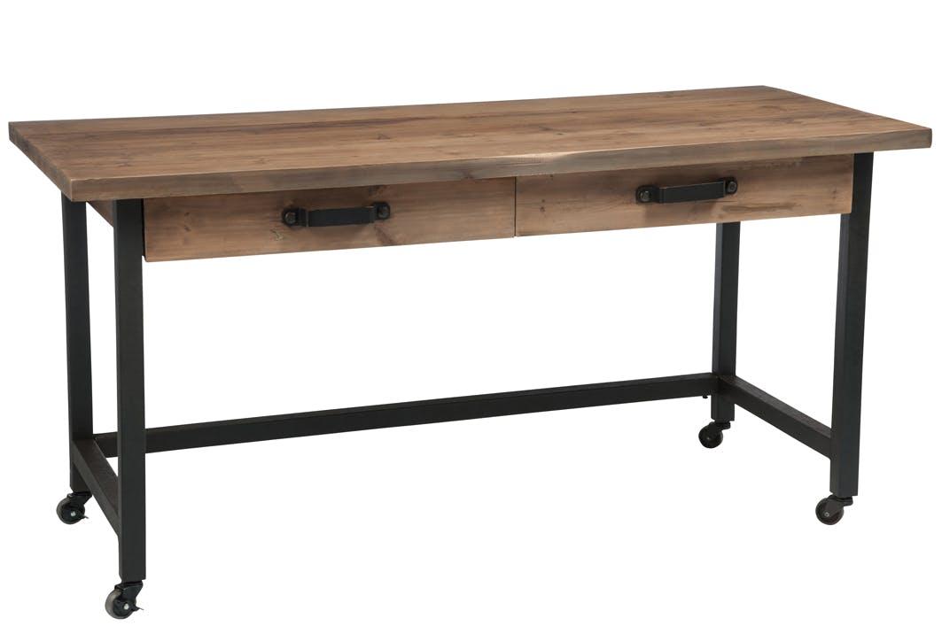Bureau roulettes bois et métal, 2 tiroirs, 153x66x76cm FOREST