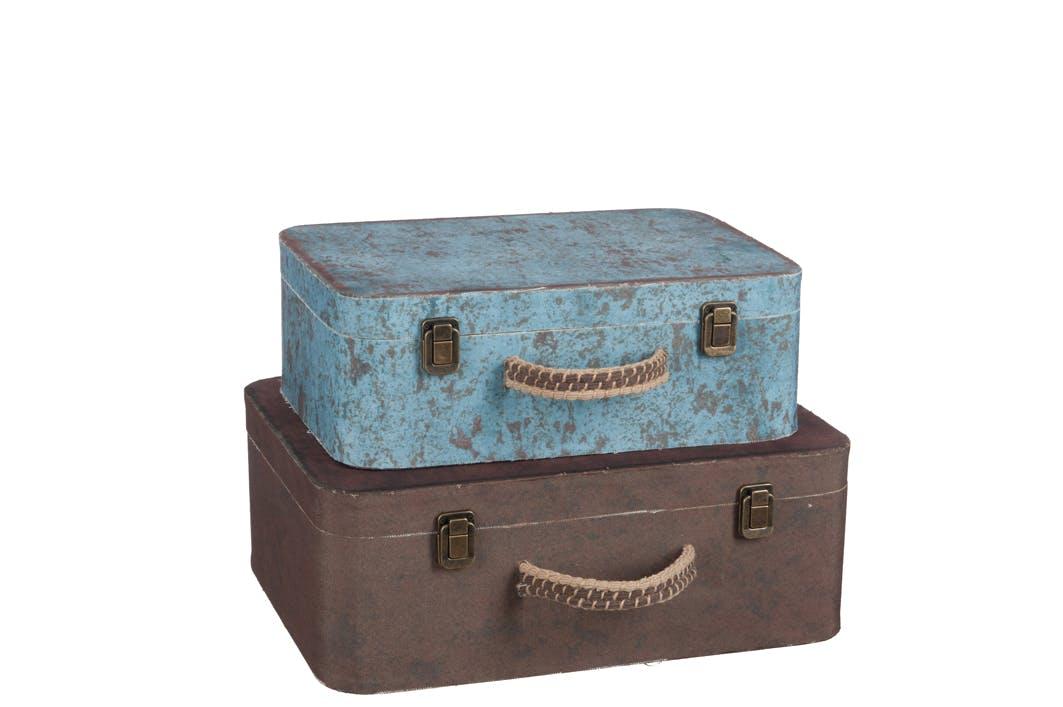 Lot de 2 coffres en bois, coloris marron et bleu