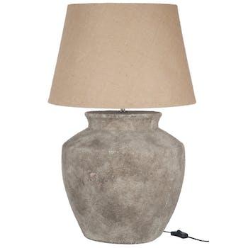 Lampe en ciment brut, abat-jour beige