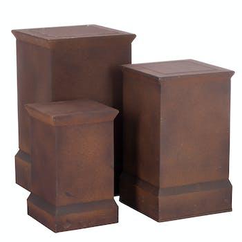Lot de 3 bouts de canapé / sellettes métal aspect rouillé