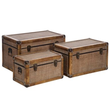 Lot de 3 malles / coffres de rangement en bois et rotin
