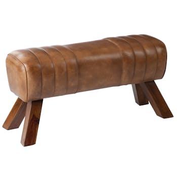 Banc en bois et cuir cognac style gym 87x30x46cm FOREST