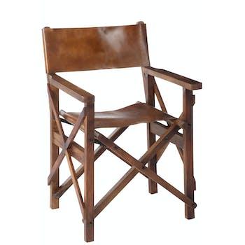 Chaise pliante style régisseur en bois et cuir FOREST