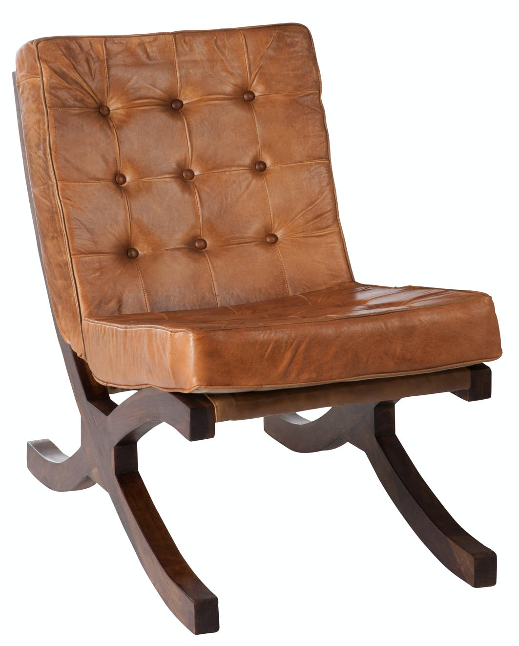 Fauteuil relax en cuir capitonné cognac FOREST