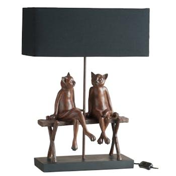 Lampe 2 chats sur un banc en résine marron 41x20x58cm