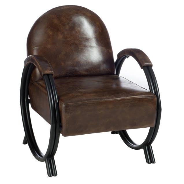 Fauteuil design en cuir et métal marron FOREST