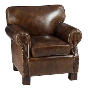 Fauteuil en cuir marron 85x81x79cm FOREST