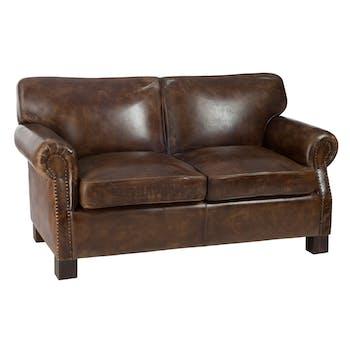 Canapé 2 places en cuir marron L143cm FOREST