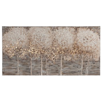 FORETS 140x70 peinture sur bois marron et beige