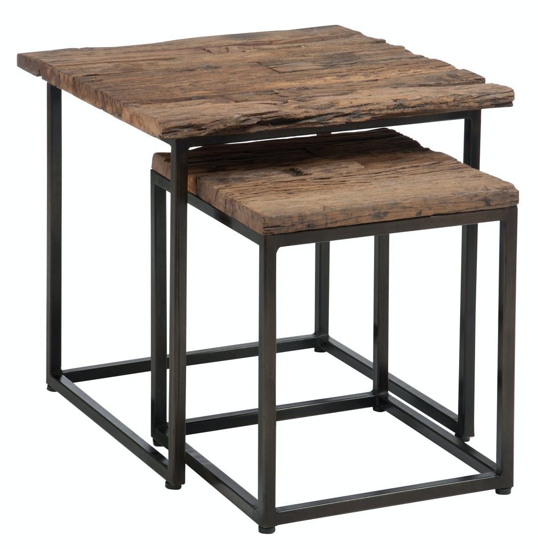 Table gigogne bois brut métal FOREST (lot de 2)