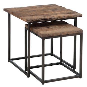 Table gigogne bois brut métal FOREST (lot de 2)
