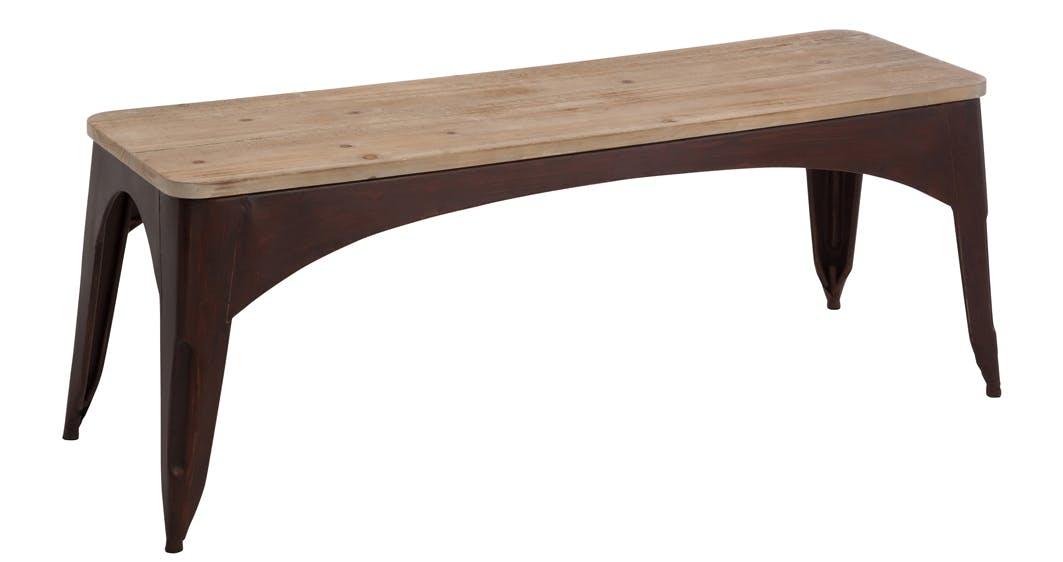 Banc pieds métal et assise en bois 117x37x45cm FOREST