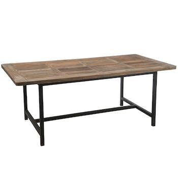Table à manger plateau bois et pieds métal noir 200x100cm FOREST