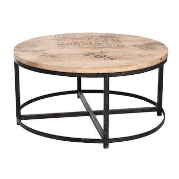 Table basse ronde plateau bois et métal D90 H45cm FOREST