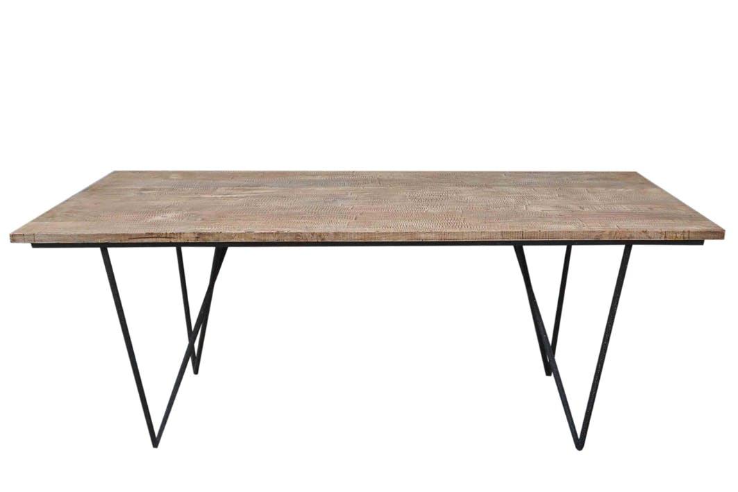 Table repas plateau bois et pieds métal 200x90x75cm FOREST
