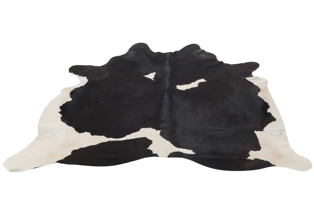 Tapis peau de vache en cuir noir et blanc 230x240cm