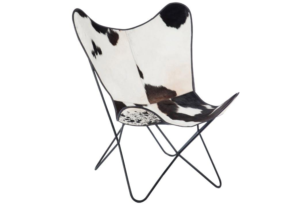 Fauteuil relax cuir de vache blanc et noir 92x65x73cm