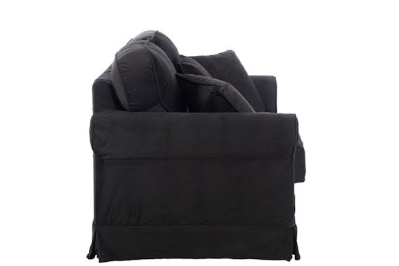 Canapé 2 places + coussins tissu noir 168x88x86cm