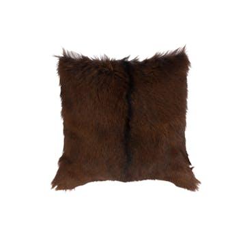 Coussin peau de chèvre naturelle marron 40x40cm