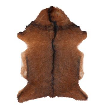 Tapis peau de chèvre naturelle marron 50x80cm