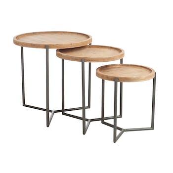 Lot de 3 tables gigognes rondes bois et métal LANDAISE