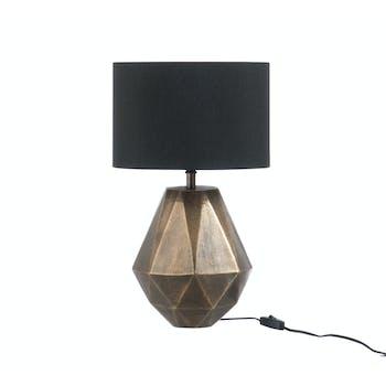 Lampe à poser pied géométrique alu teintes or D22 H29cm