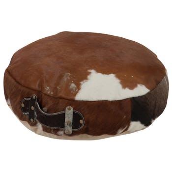 Coussin de sol / pouf en cuir peau de vache D50cm