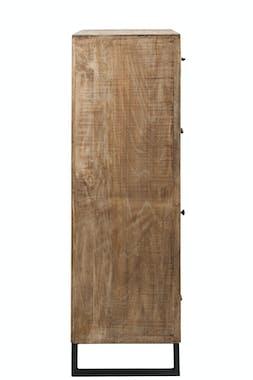 Colonne chiffonnier bois patchwork et cuir 80x42x135cm