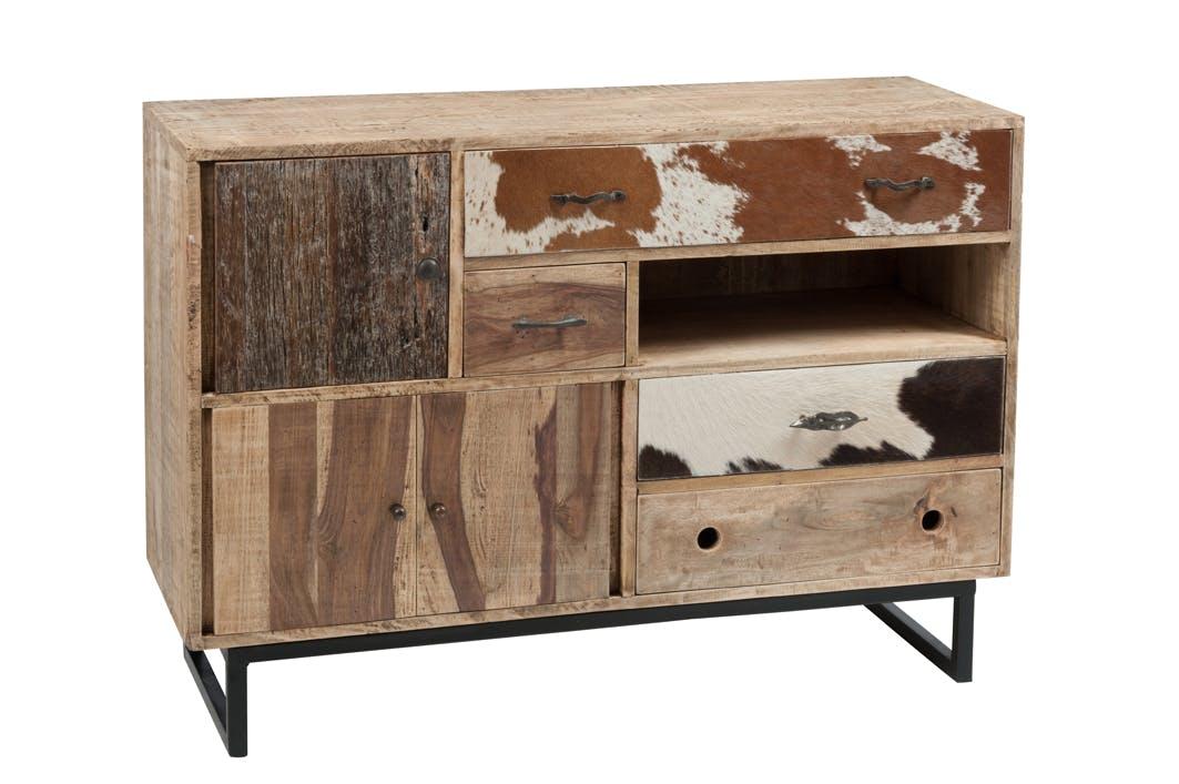 Buffet / commode bois patchwork et cuir 115x40x80cm