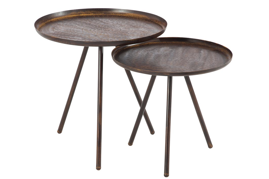 Lot 2 tables gigogne rondes métal marron imprimé D50 H50cm FOREST