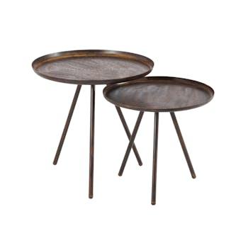 Lot 2 tables gigogne rondes métal marron imprimé D50 H50cm FOREST