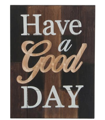 Plaque murale message 'GOOD DAY' en bois 36x48cm