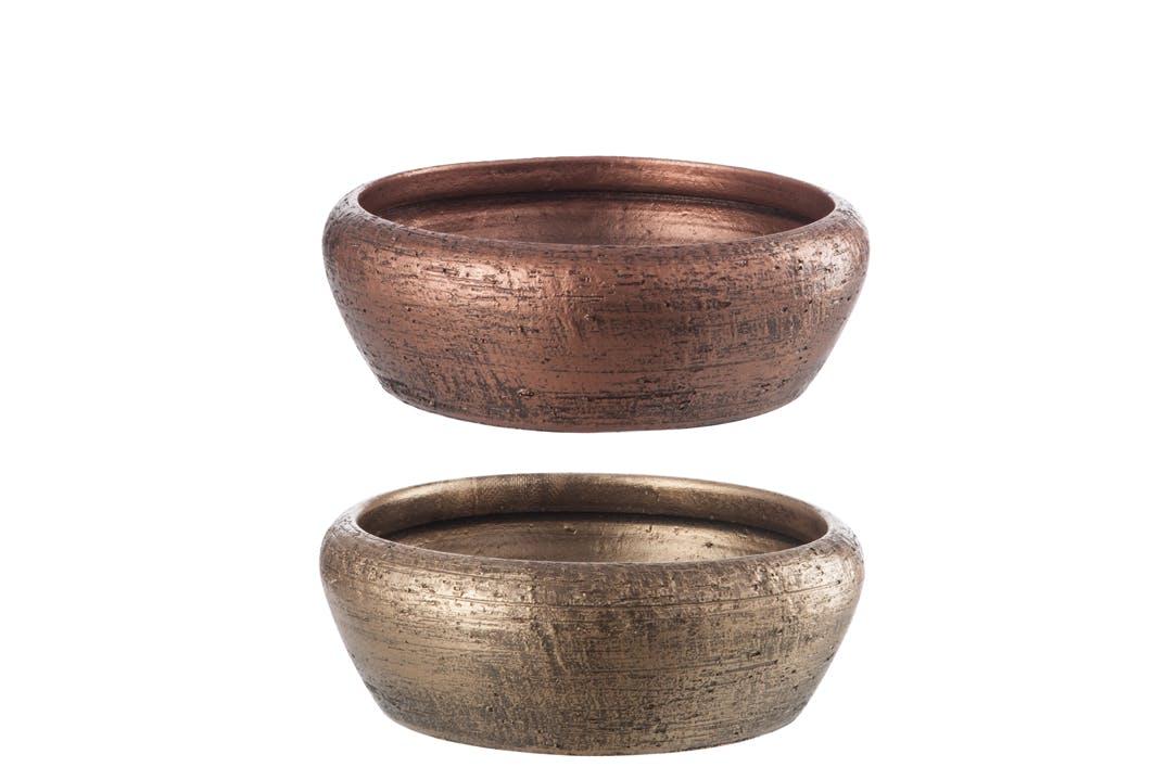 Assortiment 2 cache-pots bas céramique D34 H12cm