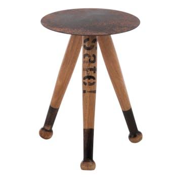 Table d'appoint en bois et métal marron et gris D39xH44cm