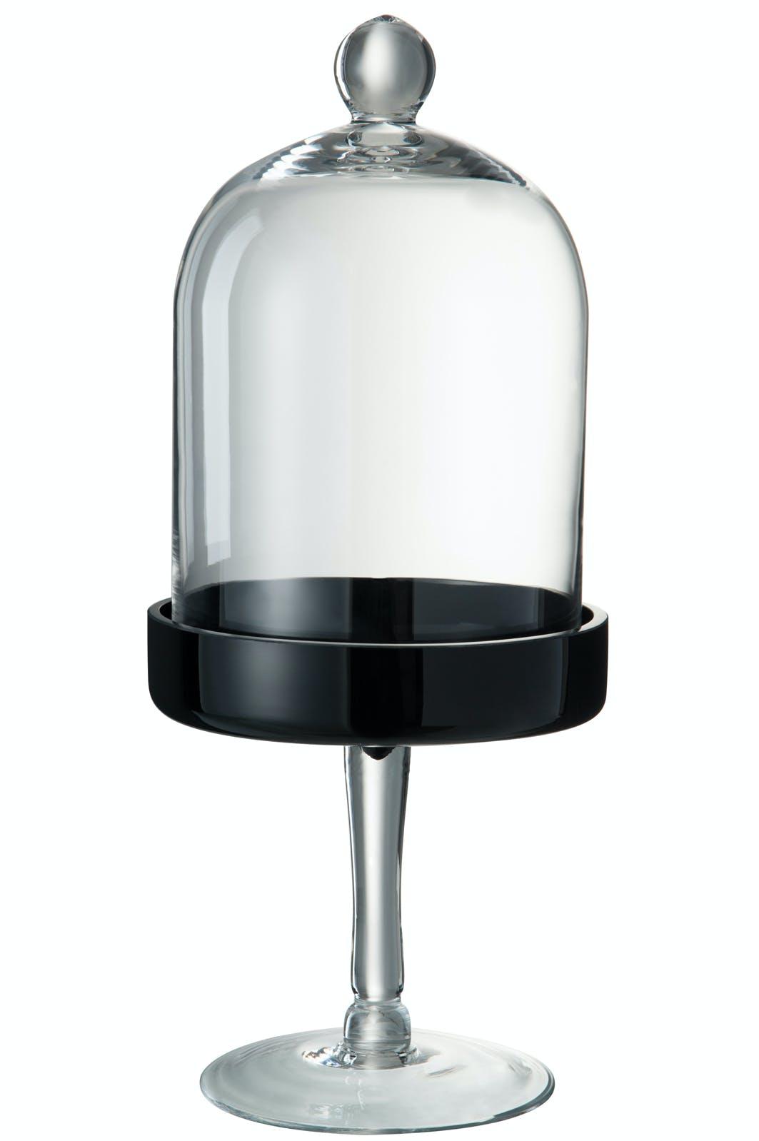 Cloche en verre, base noir sur pied D20 H47cm