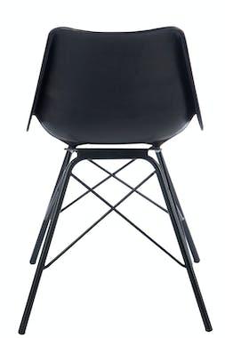 Chaise en cuir noir pieds métal croisé 45x42x78cm