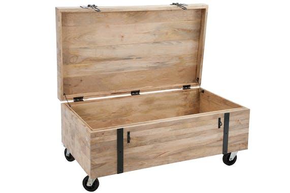 Coffre en bois naturel sur roues en métal, 110x60x48cm
