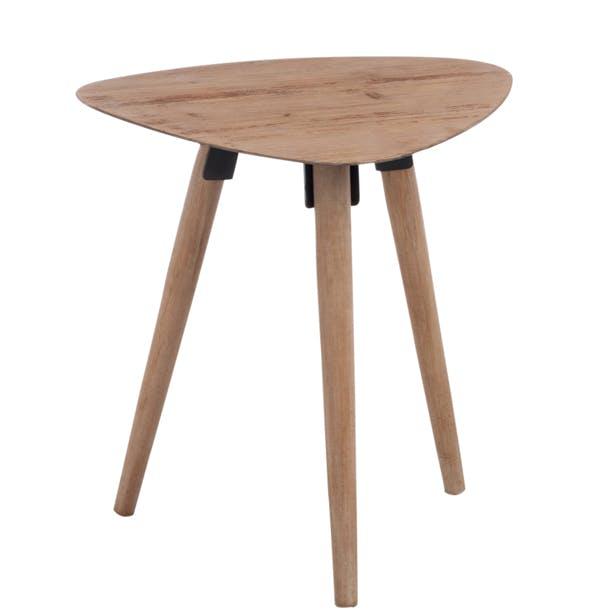 Table d'appoint triangulaire scandinave en chêne 48x39x50cm