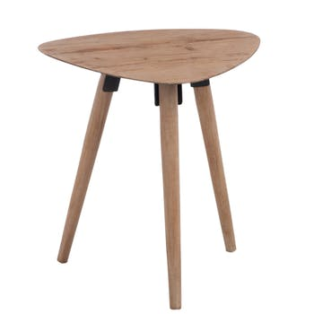 Table d'appoint triangulaire scandinave en chêne 48x39x50cm