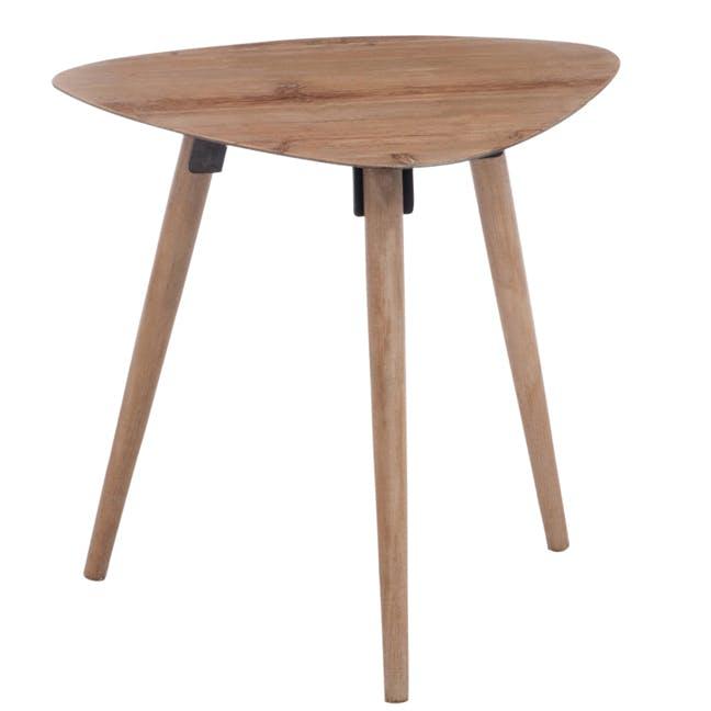 Table d'appoint triangulaire scandinave en chêne 46x58x54cm