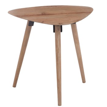 Table d'appoint triangulaire scandinave en chêne 46x58x54cm