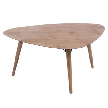 Table basse triangulaire 3 pieds chêne et bois 100x80x44cm